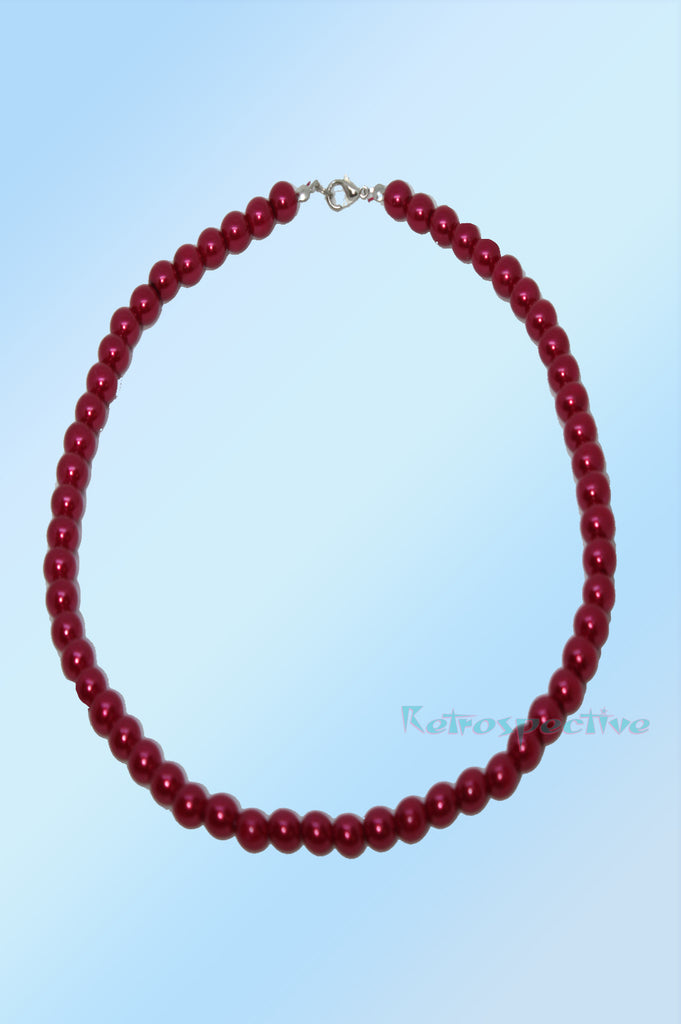 Deep Red Short Beaded Pearl Necklace