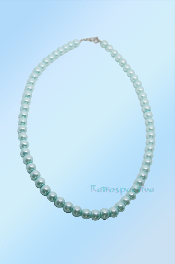 Pale Aqua Short Beaded Pearl Necklace