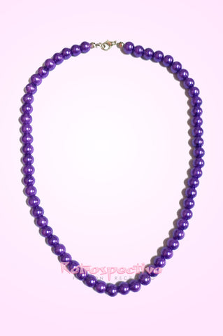 Purple Short Beaded Pearl Necklace