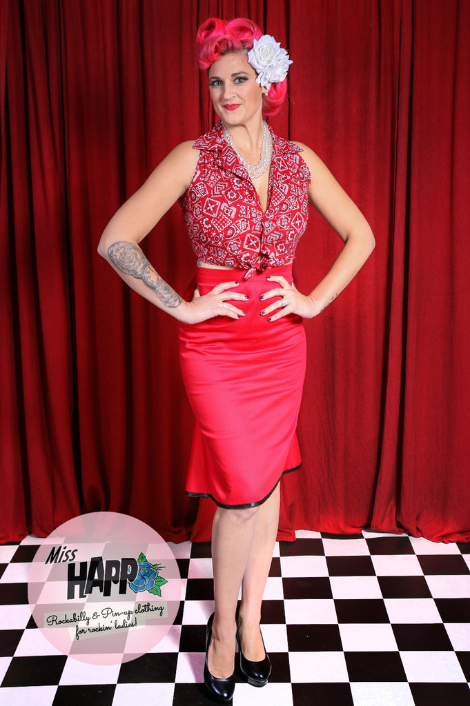 Red Hot Marilyn flounce back Pencil Skirt