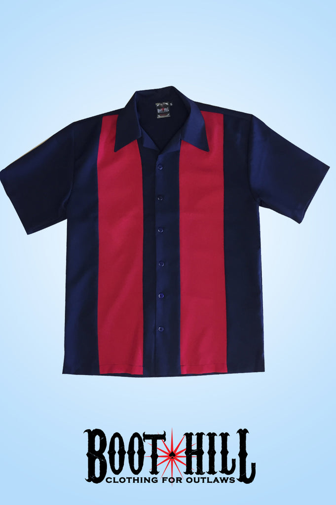 Glen's Bowling shirt Navy and Red