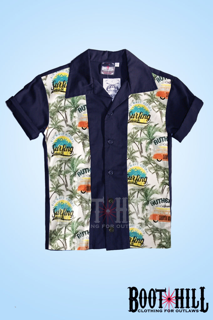 Boys Navy Surfari Bowling shirt