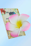 Large White and Pink Plumeria hair clip