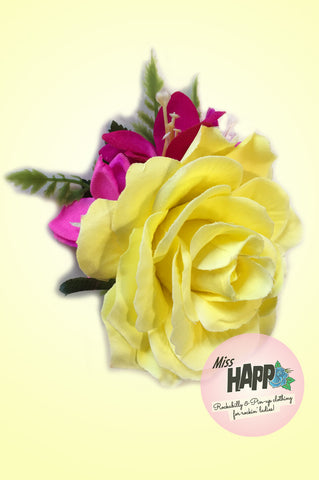 Yellow Rose and Hot Pink hair flower clip
