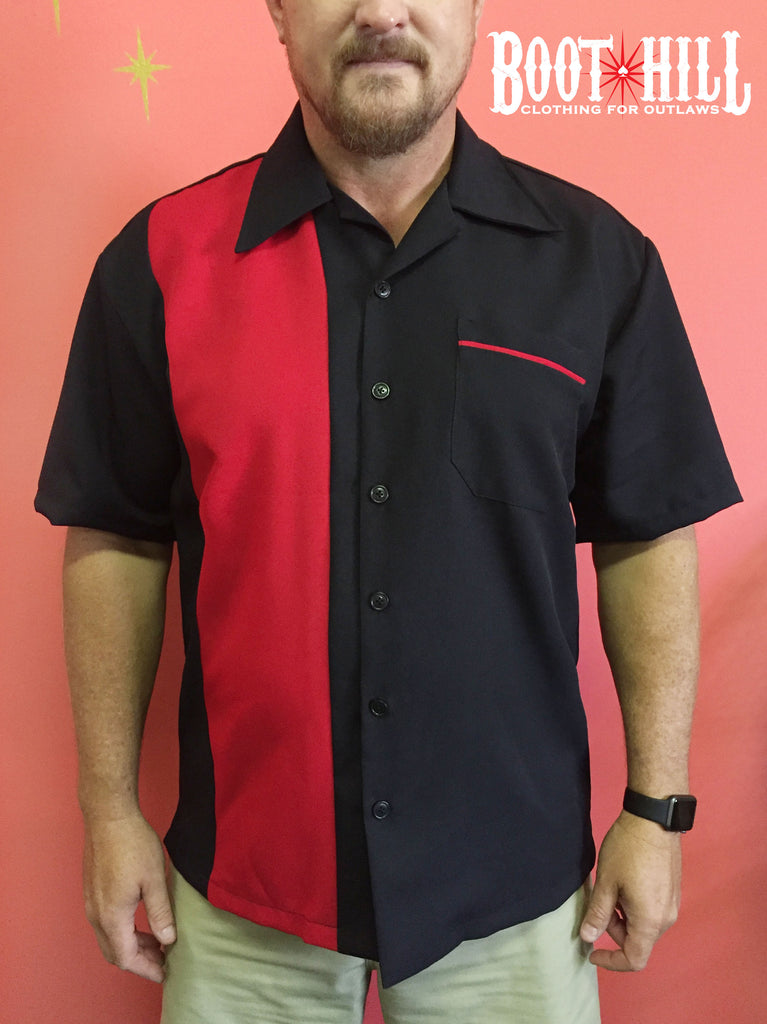 Chris's Bowling shirt Black and Red