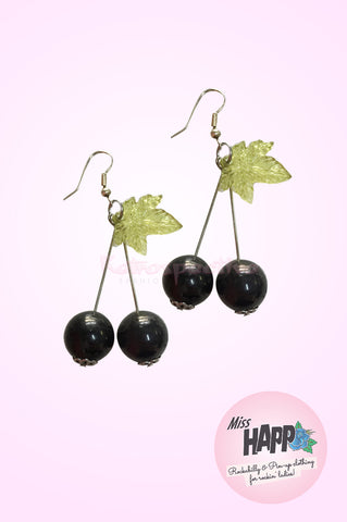 Black Pearl Cherry Earrings