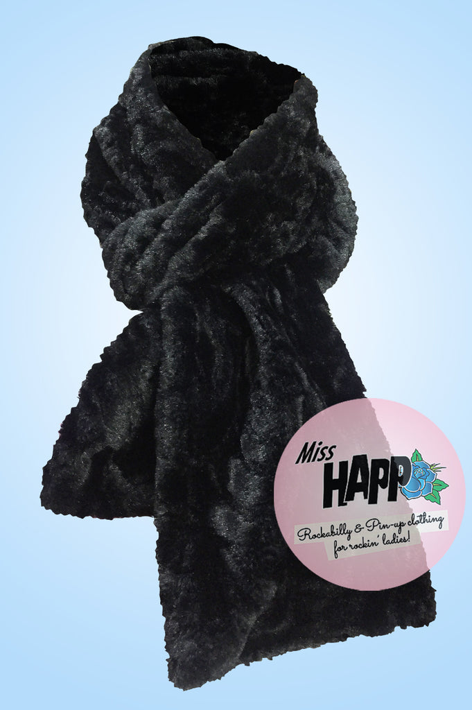 Black faux fur fluffy scarf