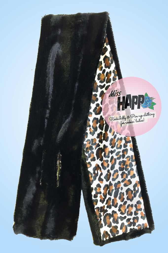 Black Silky faux fur scarf