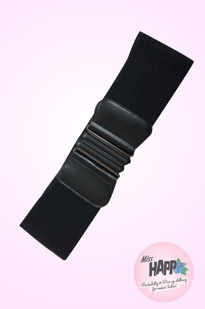 Black Wide Elasticated Belt