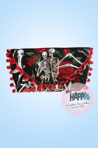 Skully romance envelope clutch bag