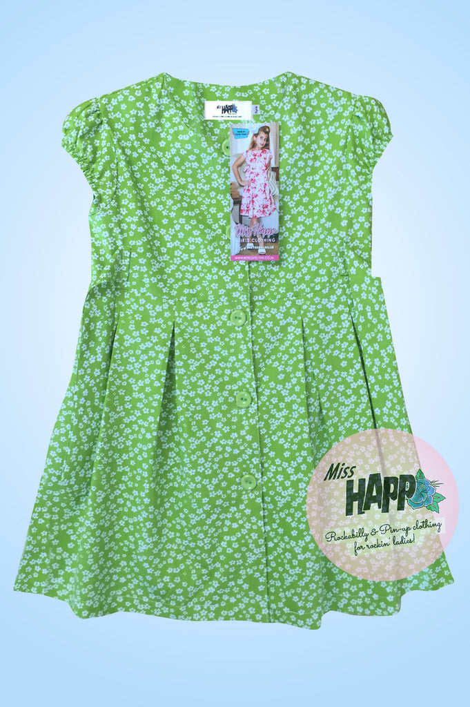 Lime Green Ditzy floral Bella Dress
