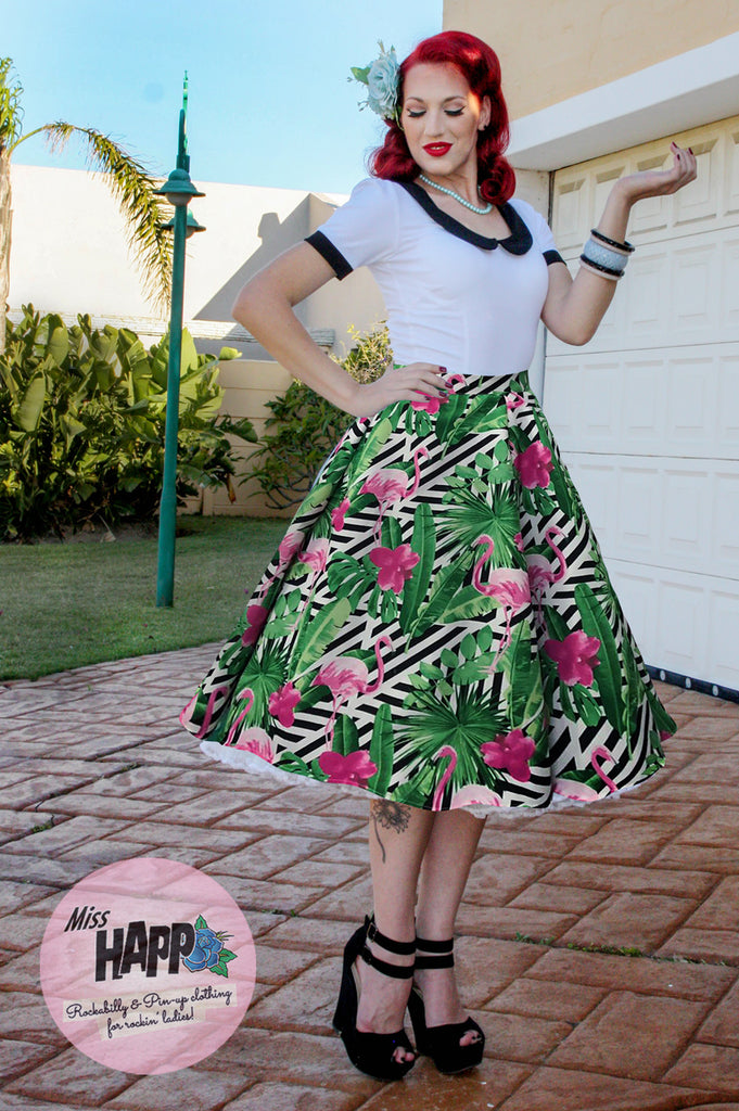 Moira Flamingo Flared Skirt