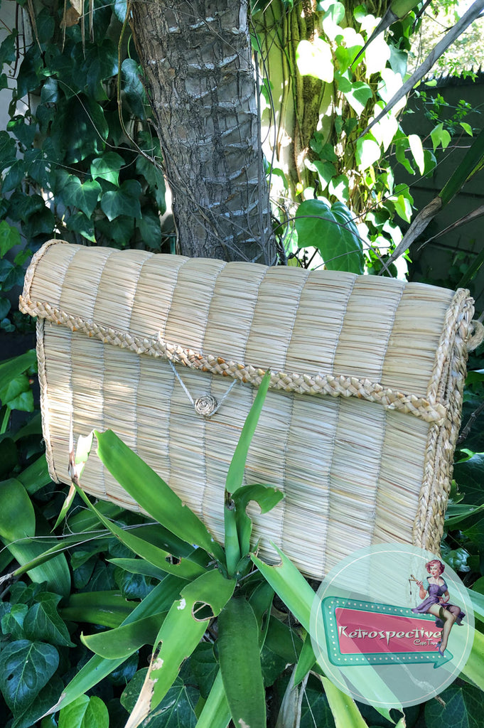 Vintage Raffia envelope Beach Bag