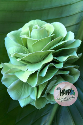Double Green Rose flower clip