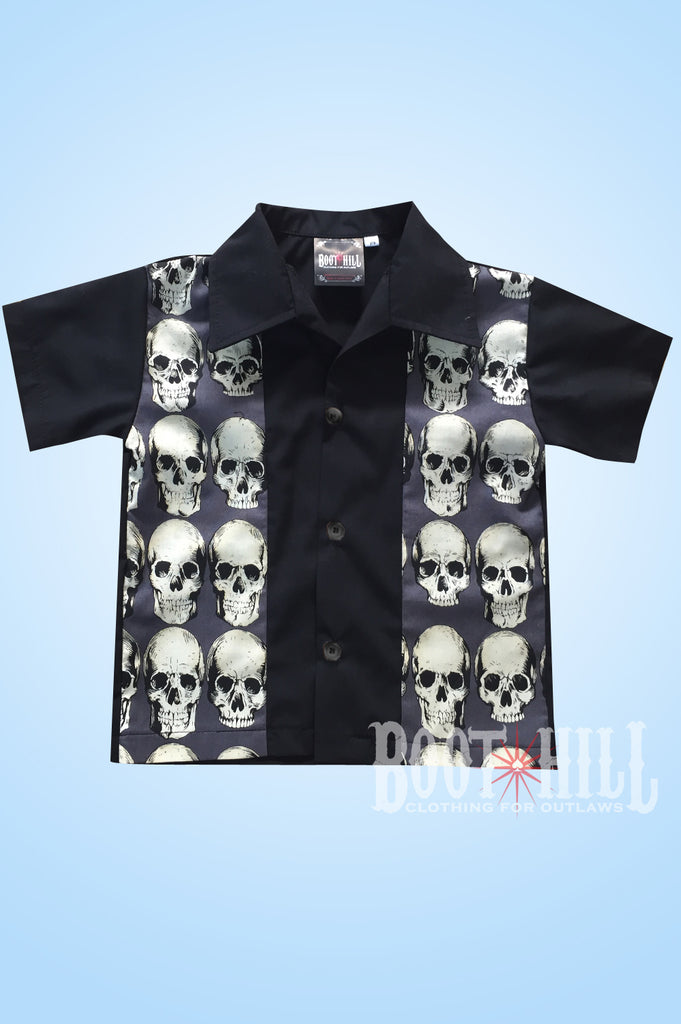 Boys Grey Skull Bowling shirt