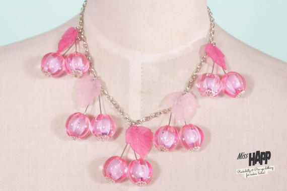 Pink Cherry Beaded Neclace