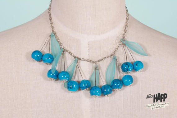 Turquoise Cherry Beaded Neclace