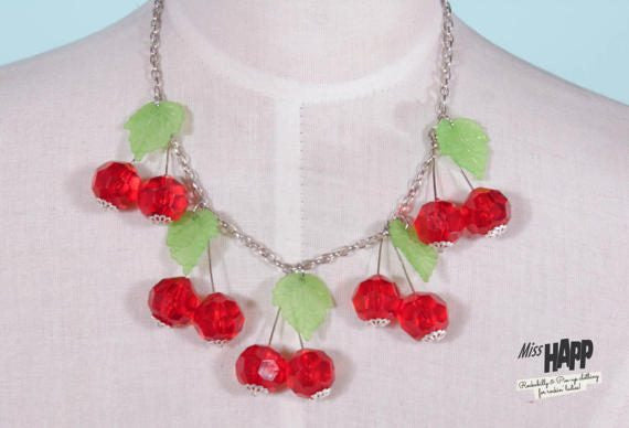 Red Cherry Beaded Neclace