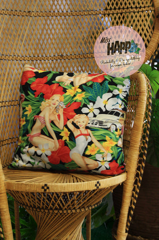 Tiki Pinup Doll Cushion