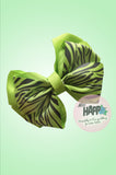 Lime Green Zebra Bow Clip