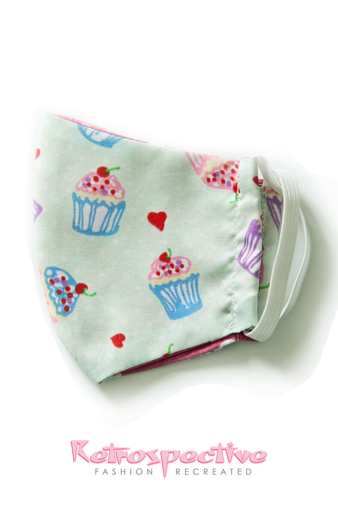 Cotton Mint cupcake Face Mask: small