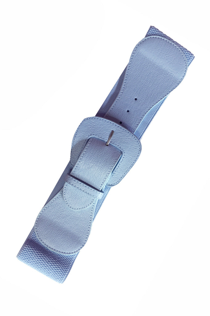 Wide Elasticated Belt Pale Blue