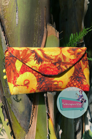 Pineapple Tiki envelope clutch bag