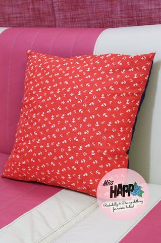 Red Anchors Aweigh Cushion