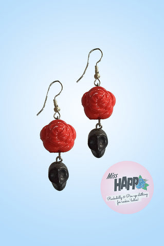 Black and red rose Skull earrings