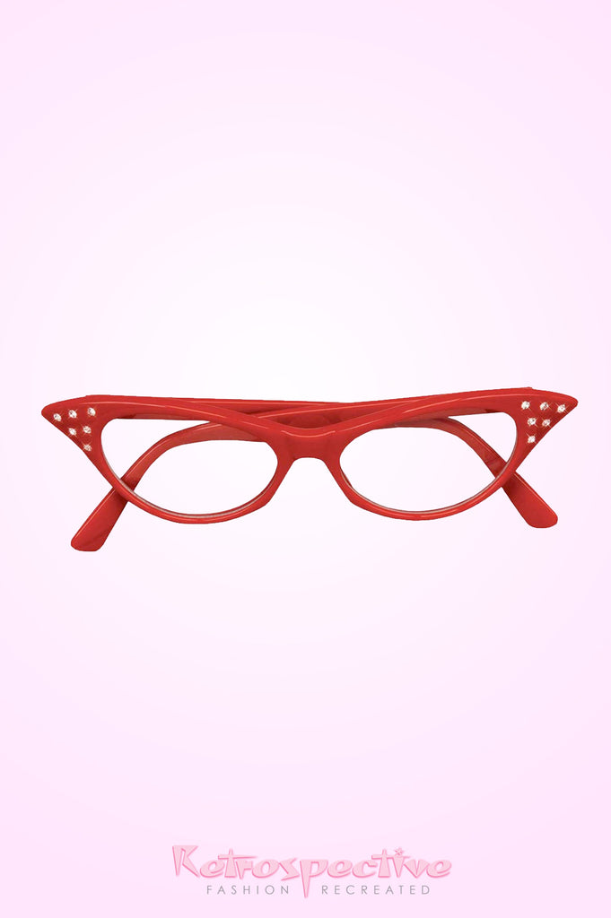 Red Sparkle Cat Eye Clear Glasses
