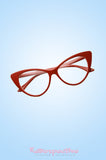 Red Kitty Cat Eye Clear Glasses