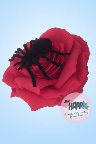 Large Blood Red Spider Rose Hair clip