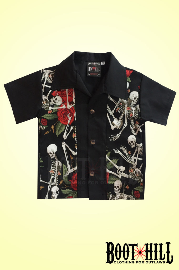cf081b7a5bd1 Boys Skeleton Love Bowling shirt – Retrospective
