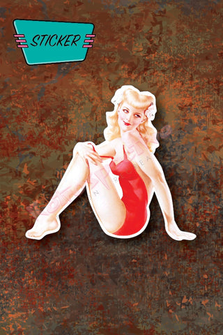 Blond Bombshell Pinup sticker