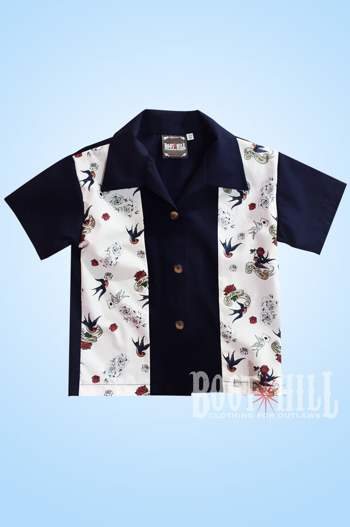 Boys Navy Tattoo Bowling shirt