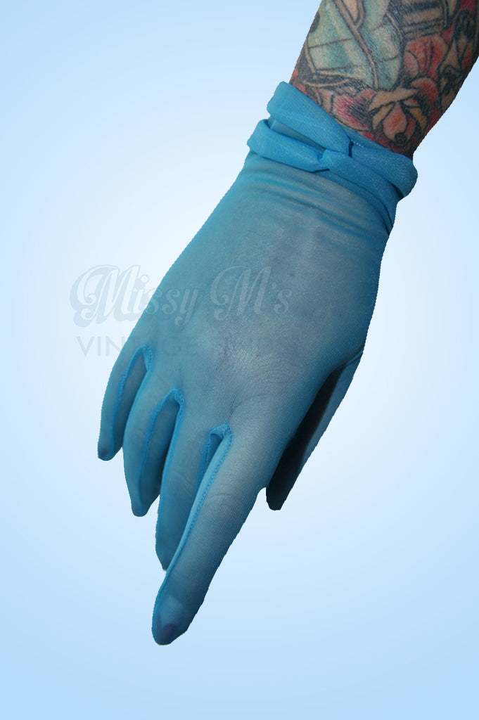 Vintage Teal chiffon Gloves