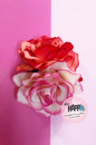 Two tone double Rose flower clip
