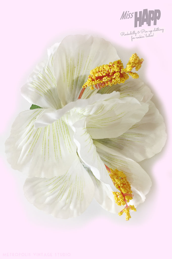 White Duo Hibiscus hair flower clip