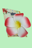 Large White and Red Plumeria hair clip