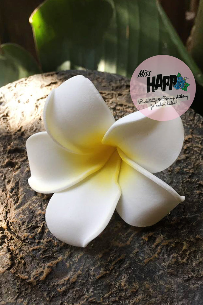 Small White and yellow Frangipani clip