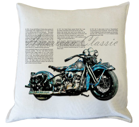 Scatter Cushion: American Classic Motorcycle II {Blue}