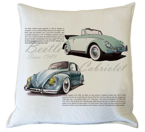 Scatter Cushion: Beetle History {vintage blue & mint green}