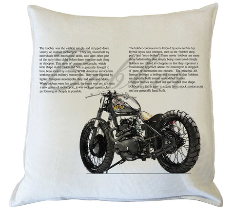 Scatter Cushion: Bobber Motorcycle