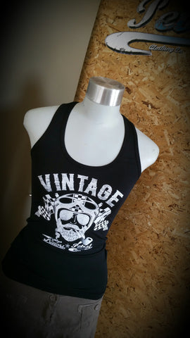 "Vintage Motorcycle Riders ""Face"" Racerback Ladies T"