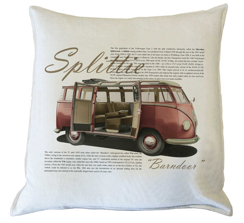 Scatter Cushion: VW Splittie Kombi history {vintage red}