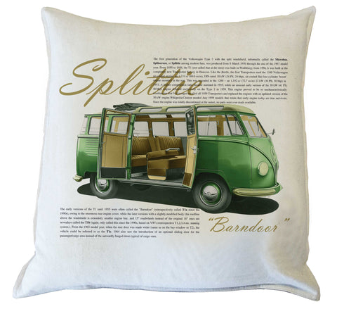 Scatter Cushion: VW Splittie Kombi history {vintage green}