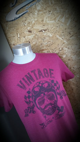 "Vintage Motorcycle Riders ""Face"" design  FITTED cut T-shirt {unisex}"