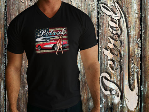 Corvette | US Flag | Pin-up V-Neck T {unisex}