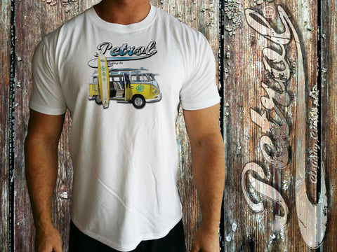 VW Splitty Kombi - surf style on crew neck T