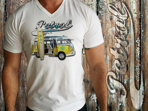 VW Splitty Kombi - surf style on V-neck T {unisex}